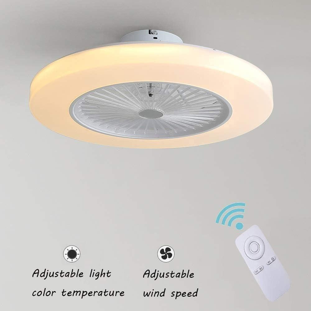 Ventilador de Techo Con Lámpara, 36W Creativo Ventilador Invisible LED Lámpara de Techo Control Remoto Regulable Ultra Silencioso Lata Tiempo Ventilador Lámpara Φ58 * H20cm [Clase De Energía A ++]