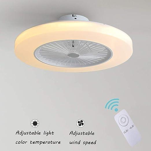 Ventilador de Techo con Lámpara, 36W Creativo Ventilador Invisible LED Lámpara de Techo Control Remoto Regulable Ultra Silencioso Lata Tiempo ...