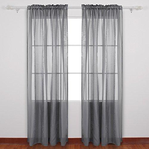 Deconovo Decorative Sheer Voile Panel Rod Pockect Curtains Panels Jacquard
