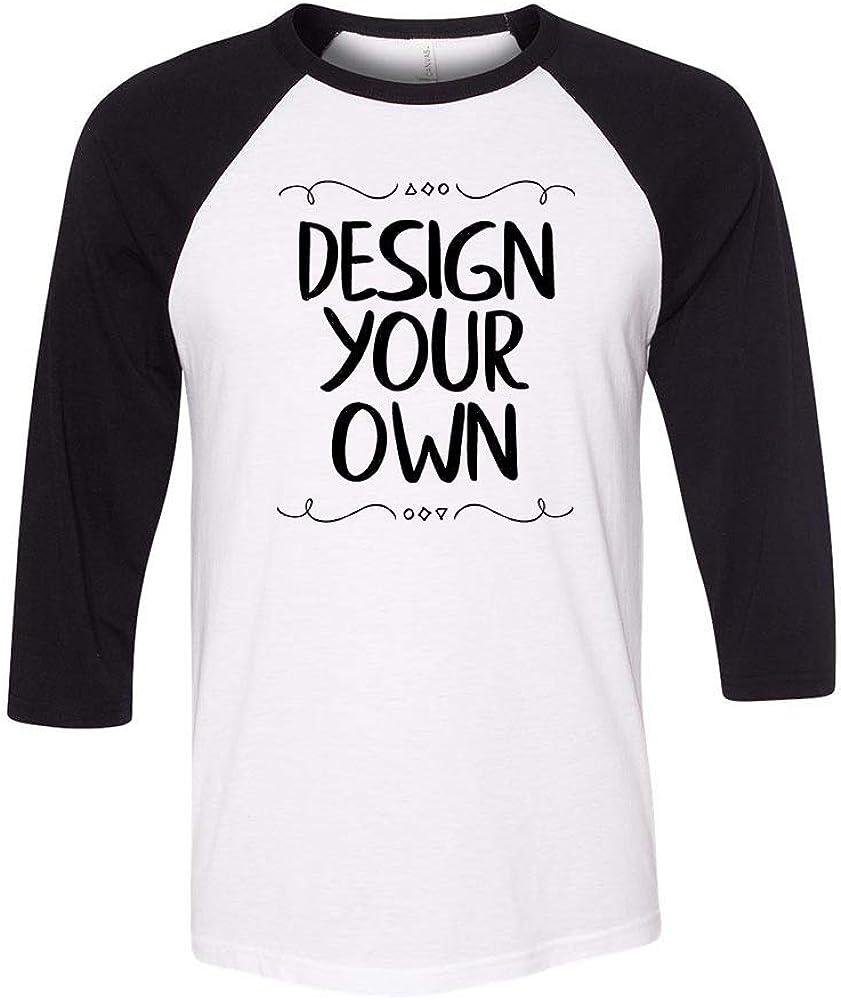 Bella + Canvas - Unisex Three-Quarter Sleeve Baseball T-Shirt, Custom Design Your Own
