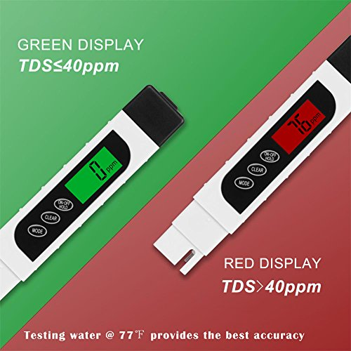Water Tester, Zsunda Professional Water Quality Tester with TDS, EC and Temperature Meter 3- in-1, 0-9990ppm, Accurate Water Meter for Drinking Water, Aquariums and More by Zsunda (Image #2)