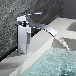 Homelody cromado cascada grifo monomando de lavabo grifo for Grifo en cascada