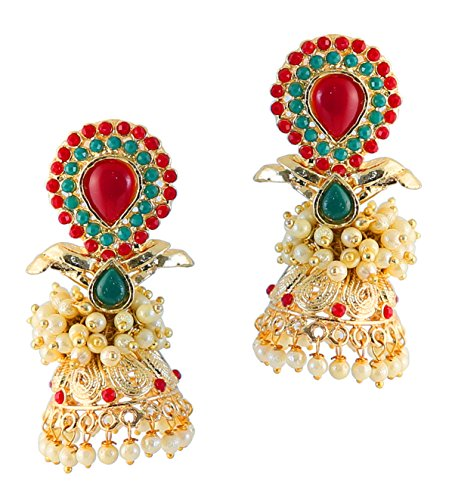 Touchstone Gold Tone Indian Bollywood Faux Pearls Ruby and Emerald Designer Jewelry Jhumki Earrings