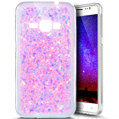 PHEZEN for Samsung Galaxy Express 3 Case, Galaxy Luna/Amp 2 / J1 2016 Case, Shiny Sparkling Hexagonal Star Bling Glitter Flexible Soft Rubber Gel Clear TPU Case Silicone Back Case (Pink)