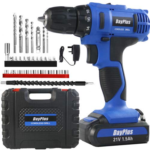 """Power 21V Lithium Ion Rechargeable Battery Cordless Drill, Power Drill Set 3/8"""" Keyless Chuck, Variable Speed, 18+1 Position and 29pcs Drill/Driver Bits, Fast Charger, Carry case"""