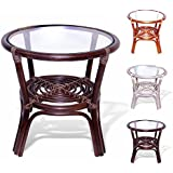 Leo Rattan Wicker Round Accent Coffee Table with Glass, Dark Brown