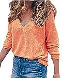 Auxo Women's V Neck Top Long Sleeve Shirt Blouses Oversized Sweater Pullover Jumper Orange US 12/Asian L