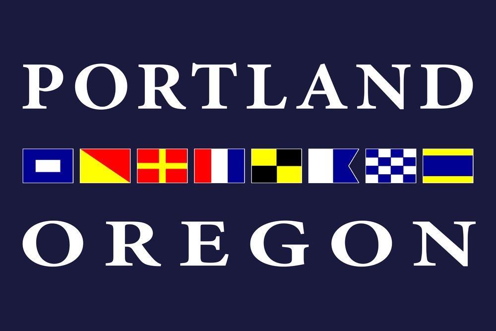 ポートランド、オレゴン州 – Nautical Flags 24 x 36 Signed Art Print LANT-32807-710 B07B27JCHG  24 x 36 Signed Art Print