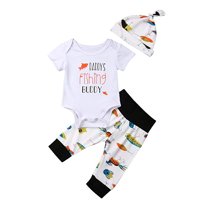 51f16231d Amazon.com: Dookingup 3Pcs Newborn Infant Baby Boy Girls Daddy's Fishing  Buddy Romper Fish Pants Set Spring Fall Winter Outfit: Clothing