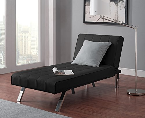DHP Emily Chaise Lounger Long Chair Sleeper Faux Leather Upholstered Contemporary Decor Modern Style for Hall Entryway Living Room Furniture (Black)