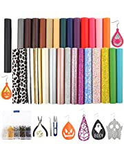 SGHUO 30pcs Faux Leather Sheets Include Leather Earring Making Kit Fall Theme Glitter Metallic Leather Sheets and Tools for Halloween Craft Making Earrings Making Hair Bows(6.3 x 8.3 Inch)