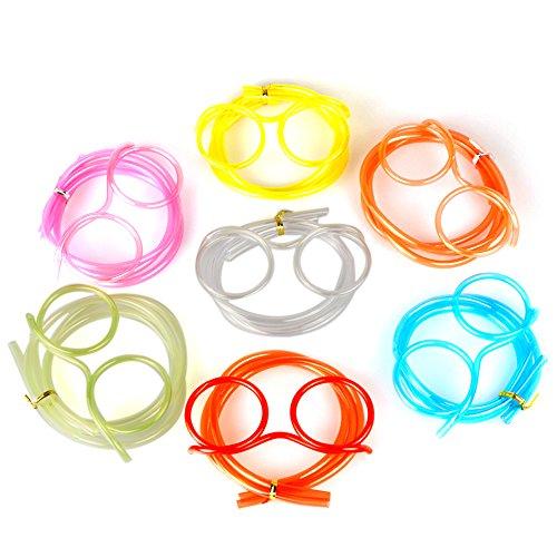 Walmeck DIY Cartoon Plastic Creative Fun Eyeglasses Straw Crazy Design Silly Transparent Funny Stylish Gift for Kids (Straw Eyeglass)