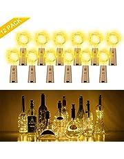 Botella de luz, ALED LIGHT 12 Pack Botellas de Vino Luces 20 LED Luz de Bricolaje Corcho Micro Luces LED para Botella de Vino para Boda, Fiesta, Decoración de Botella,Decoración de Luces