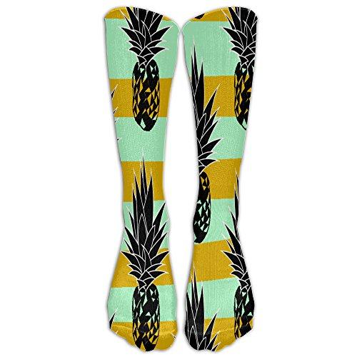 Tropical Pineapple Yellow Lines Clipart Men's And Women's Tube Stocking High Socks Sport Long Socks