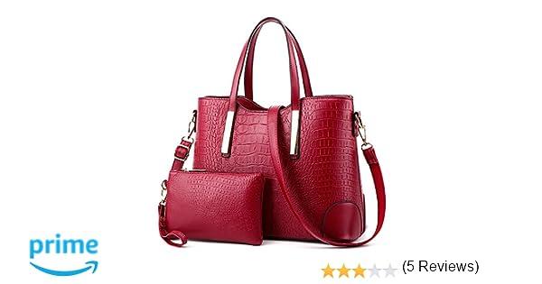 EssVita 2 Piezas PU de cuero Mujer Moda Bolsos de Mano Cuero Bolsa y Carteras Bandolera Tote Bag Monedero Conjunto Vino Rojo: Amazon.es: Equipaje