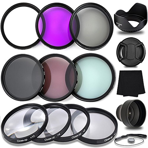 Professional 58MM UV CPL FLD Filters + Neutral Density Set + Close-Up Macro Set, 10 Piece Compact Photography Accessories For Canon (Macro Filter 58mm)