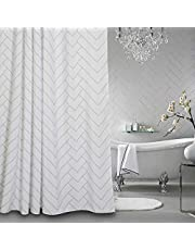 Hotel Quality White Striped Mold Resistant Fabric Shower Curtain for Bathroom,Water-Repellent 72 X 72 Inch