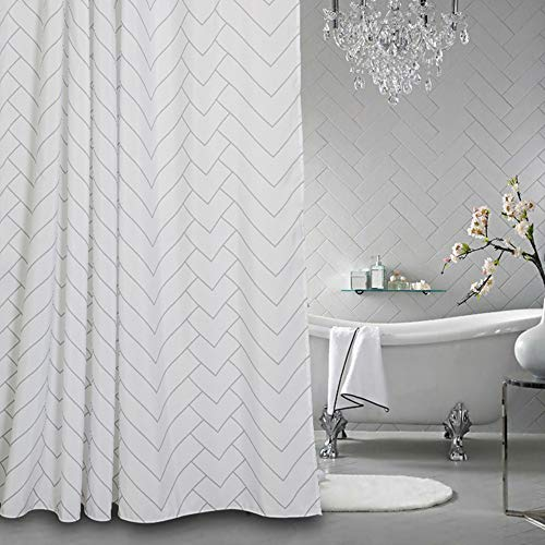 Aimjerry Hotel Quality White Striped Fabric Shower Curtain for Bathroom, 72 X 72 Inch Blue Stripe Chenille Fabric