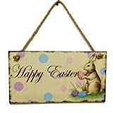 Geetobby Easter's Gifts Happy Easter Wooden Hanging Festival Wall Door Decorative Sign Home Decoration
