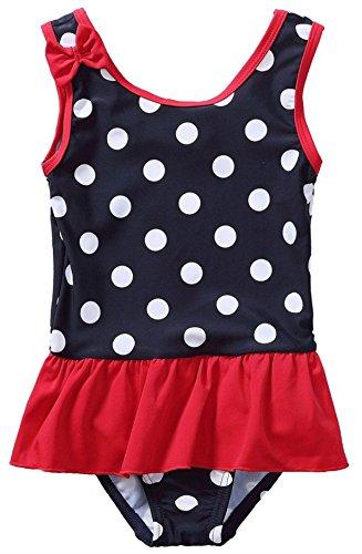 belamo Toddler Skirted One Piece Swimwear Ruffle Swimsuit For Girls 3-6 (Skirted Polka Dot)