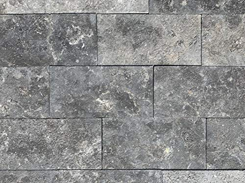 Set of 50 SQFT-Leathered Stone Paver-Black-6