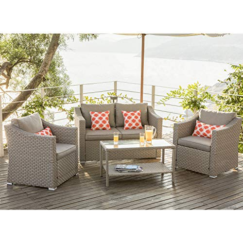 COSIEST 4-Piece Patio Furniture Sectional Sofa All-Weather Outdoor Wicker Conversation Set w Warm Gray Cushions, Glass Coffee Table, 4 Coral Pattern Pillows for Deck, Backyard, Pool (Garden Furniture Resin Weave Sets)