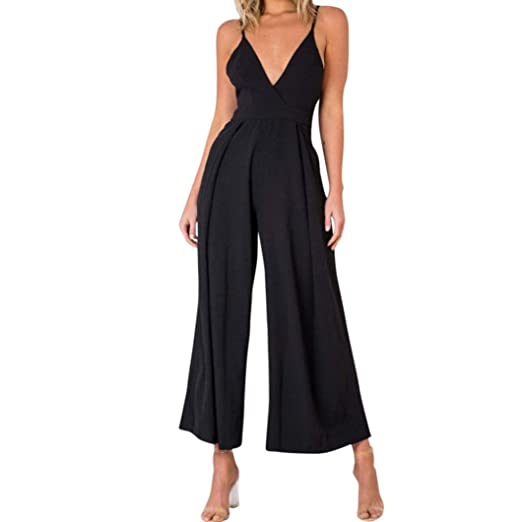 7bd774c074c9 Image Unavailable. Image not available for. Color  Rambling Women Casual  Sleeveless Loose Wide Legs Jumpsuit Halter Waist Tie Stretchy Rompers Pants
