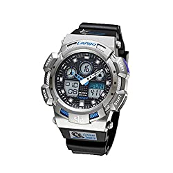 WISE® New Arrival PAS Mens Dual Time Waterproof 100m Sports Casual Wrist Watches Silver