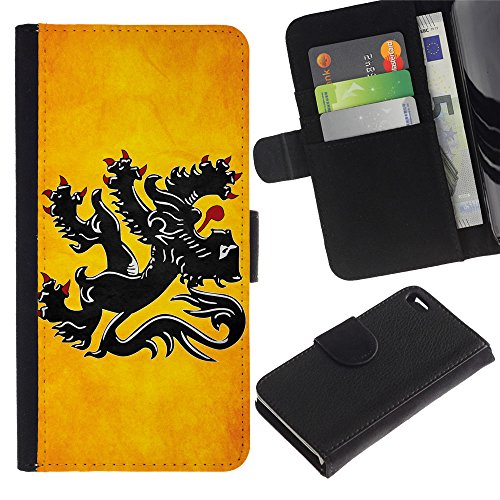 OMEGA Case / Apple Iphone 4 / 4S / Flanders Grunge Flag / Cuir PU Portefeuille Coverture Shell Armure Coque Coq Cas Etui Housse Case Cover Wallet Credit Card