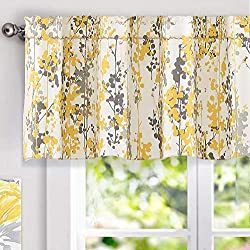 "DriftAway Leah Abstract Floral Blossom Ink Painting Window Curtain Valance (Yellow/Silver/Gray, 52""x18""+2"" Header)"
