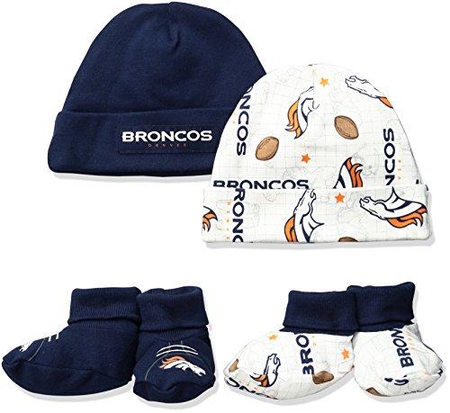 Booties Cap (NFL Denver Broncos Print Cap & Bootie Set(4 Pack), 0-6 Months, Blue)