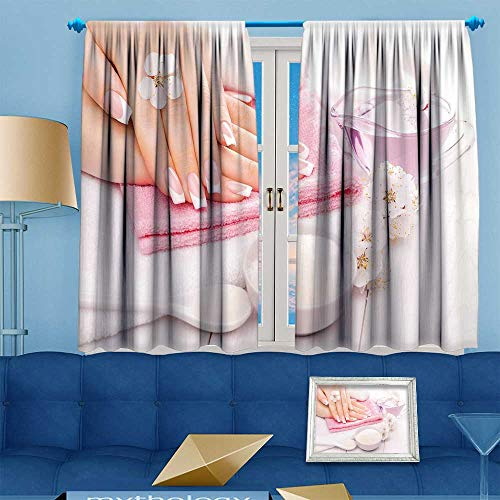 PRUNUS Blackout Curtain French Manicure with Essential Oils Apricot Flowers spa Customized Curtains W72 x L84 inch