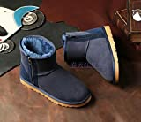 A couple of snow boots warm winter coat waterproof size short tube thick wool shoes,39 deep blue