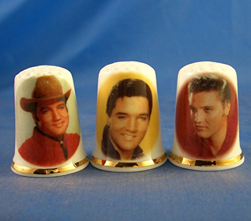 Porcelain China Collectable Thimbles - Set of Three Elvis Presley Birchcroft China