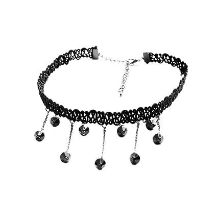 de147417c10d PAOLIAN Retro Collares para mujer baratos collares para mujeres pegados al  cuello de Negro Encaje Diseño de Gotitas de Agua (Negro)  Amazon.es  Hogar