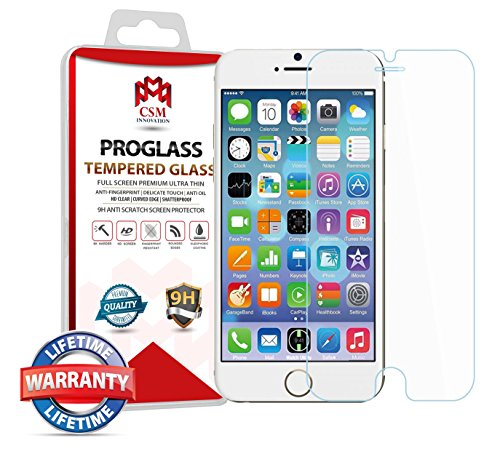 "iPhone 6 Screen Protector for Apple 4.7"", iPhone 6S, CSM INNOVATION, Tempered Glass, Bubble Free, Ballistic Glass [Lifetime Warranty]"