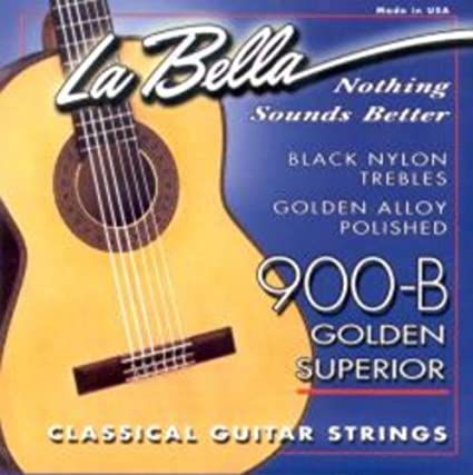 La Bella 900-B (Black nylon trebles, golden alloy basses)