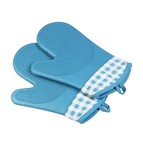 elegantstunningシリコン耐熱性ショート手袋耐熱手袋with Plaid ブルー HO1070ZZ748U  ブルー B07FD5SNJ5