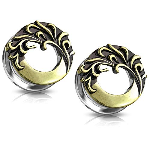 Pierced Owl Antique Gold Plated Curved Feather Design Front-Facing Screw Fit Tunnel Plugs, Sold as Pair (12mm (1/2