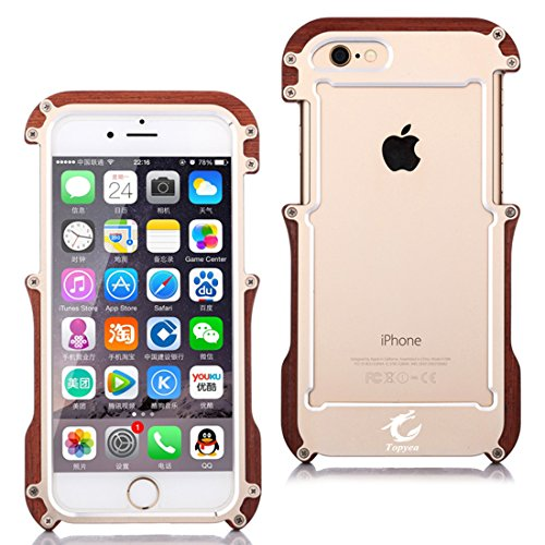 Wood Aluminum Metal Bumper Frame Case For iPhone 6s plus (Gold) - 2