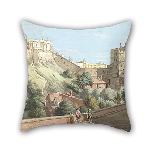 Rdkekxoel 18 X 18 Inches/Oil Painting Paul Sandby - Windsor Castle- The Round Tower, Royal Court and Devil's Tower from The Black Rod Throw Cushion Covers Ornament and Gift to Her Love