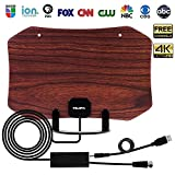 HDTV Antenna, 2018 Upgraded Over-The-Air OTA TV Antenna, Amplified 60 Mile Range Ultra HD UHF VHF Local Channels Free View, 4K-Ready, Multi Directional, FM Radio (MF-AT8001 Wood Grain Coffee)