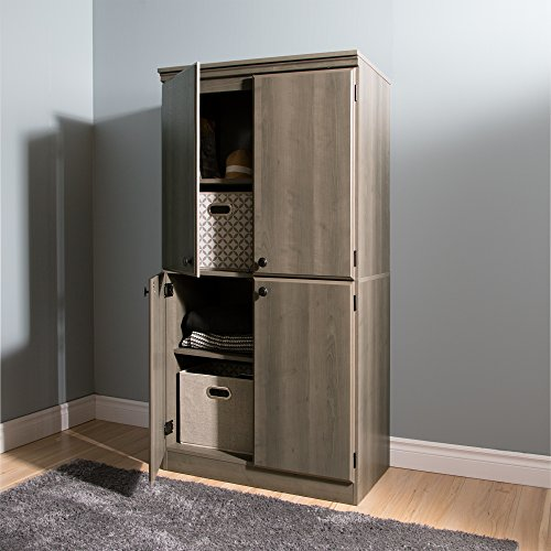 South Shore Tall 4-Door Storage Cabinet with Adjustable Shelves, Gray Maple