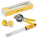 HermiLodge Lemon Squeezer and Lemon Zester Tool Combo Set - Best Citrus Juicer and Citrus Peeler - Easy to Use Non Slip Silicone Grip Commercial Grade Stainless Steel
