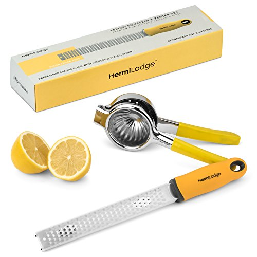Lemon Squeezer and Lemon Zester Tool Combo Set – Best Citrus Juicer and Citrus Peeler – Easy to Use Non Slip Silicone Grip Commercial Grade Stainless Steel