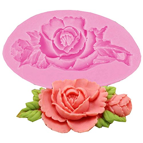 LALANG Silicone soap mold Sculpted Mould Candy Jello 3D Cake Mold with Rose Flower, Leaf, Shell,Angel Wing, Bowknot Style (Style 2)