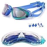 YJWB Anti-Fog No Leaking UV Protection, Triathlon Swimming Goggles for Men/Women/Children, Blue