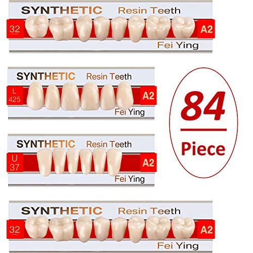 BBTO 84 Pieces Teeth Dentures Acrylic Resin Teeth Halloween Fake Teeth Vampire Horror Teeth Fangs for Halloween Party Cosplay Props Horror Party Favors