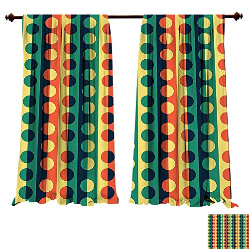 - fengruiyanjing-Home Thermal Insulated Grommet Geometric Circle Pop Art Vertical Striped Half Pattern Ring Forms Retro Poster Print Orange Teal Blackout Curtains for Bedroom (W72 x L72 -Inch 2 Panels)