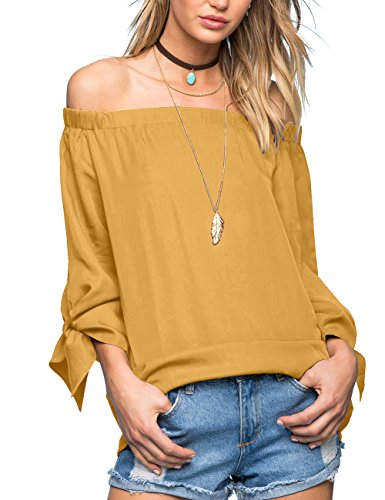 Just Quella Women's Off The Shoulder Top Blouse 8422 (S, Mustard)